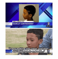 Dumb, Haircut, and Head: KPRC2 NEWS AT 6  HAIRCUT CONTROVERSY  Iwas walking into class, and then  shesaw my hair and said  2 Um hello if a teacher literally coloured in my sons head with a permanent marker which isnt even meant to go on ur skin i would sue the school this is so dumb