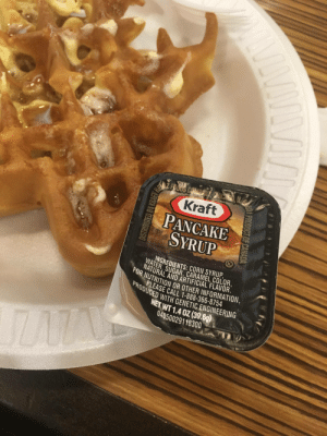 Control, Information, and Sugar: Kraft  PANCAKE  SYRUP  INGREDIENTS: CORN SYRUP  WATER, SUGAR, CARAMEL COLOR,  NATURAL AND ARTIFICIAL FLAVOR  UR NUTRITION OR OTHER INFORMATION,  PROEASE CALL 1-888-366-8754  UUCED WITH GENETIC ENGINEERING  NET WT 1.40Z (39.6g)  04050029118300 Pancake syrup on a waffle... I'm outta control!