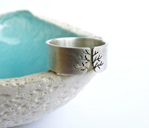 Tumblr, Blog, and Http: kreagora:  Autumn tree ring, Sterling silver ring, sanded wide band ring, metalwork jewelry