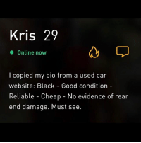 """More bang for your buck"" 🚗: Kris 29  Online now  l copied my bio from a used car  website: Black - Good condition-  Reliable - Cheap - No evidence of rear  end damage. Must see. ""More bang for your buck"" 🚗"