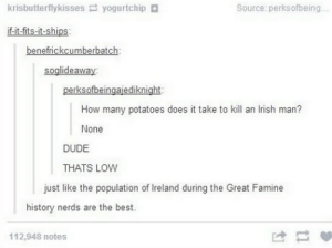 Dude, Irish, and Best: krisbutterflykisses yogurtchip +  Source: perksofbeing..  if-it-fits-it-ships  benefrickcumberbatch  soglideaway:  perksofbeingajediknight  How many potatoes does it take to kill an lrish man?  None  DUDE  THATS LOW  just like the population of Ireland during the Great Famine  history nerds are the best.  112,948 notes The Irish dont do well without potatoes