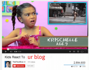 Kids React To: KRISCHELLE  AGE 9  0:24/6:59  Kids React To ur blog  TheFineBros  . 574 videos  2,894,600  45,733 1,638  Subscribe  7,672,865