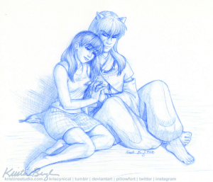 kriscynical:  ReconnectingThis has never been posted anywhere before, so it should be brand new for y'all. I believe I originally drew this for Inuyasha and Kagome's first bit of alone time in A Tale of Ever After by knittingknots. I'd link to it if Tumblr didn't hate links, but it's on fanfiction.net because it is just that old of a fic. PLEASE DO NOT REPOST OR REMOVE ARTIST COMMENTS: kriscynical:  ReconnectingThis has never been posted anywhere before, so it should be brand new for y'all. I believe I originally drew this for Inuyasha and Kagome's first bit of alone time in A Tale of Ever After by knittingknots. I'd link to it if Tumblr didn't hate links, but it's on fanfiction.net because it is just that old of a fic. PLEASE DO NOT REPOST OR REMOVE ARTIST COMMENTS