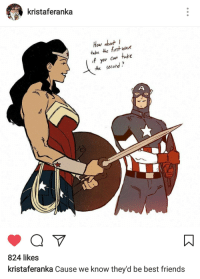 """America, Friends, and Tumblr: kristaferanka  Hou about  take he fit wave  fyou ca take  the selohd.  824 likes  kristaferanka Cause we know they'd be best friends <p><a href=""""http://wondygirl.tumblr.com/post/161404241263/wonder-woman-and-captain-america-by-kristaferanka"""" class=""""tumblr_blog"""">wondygirl</a>:</p>  <blockquote><p>Wonder Woman and Captain America by @kristaferanka</p></blockquote>"""