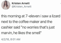 "7-Eleven, Saw, and Smell: Kristen Arnett  @Kristen_Arnett  this morning at 7-eleven i saw a lizard  next to the coffee maker and the  cashier said ""no worries that's just  marvin, he likes the smell""  4/2/18, 8:01 AM"