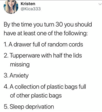 Twitter, Anxiety, and The Following: Kristen  @Kica333  By the time you turn 30 you should  have at least one of the following  1.A drawer full of random cords  2. Tupperware with half the lids  missing  3. Anxiety  4. A collection of plastic bags full  of other plastic bag:s  5. Sleep deprivation Keep yourself responsible with this checklist (twitter: kica333)