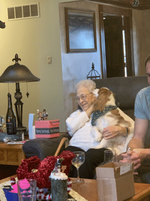My grandma is getting older and she's not able to have dogs anymore. Every time she comes over she talks about how much she misses having a pup. I'm glad she's able to spend time with my dog, he makes her so happy!: KRISTIN  NNAH  T-CLASS PG My grandma is getting older and she's not able to have dogs anymore. Every time she comes over she talks about how much she misses having a pup. I'm glad she's able to spend time with my dog, he makes her so happy!