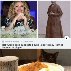 We'll keep that in mind.: KRON 4 NEWS 1 MIN READ  Hollywood exec suggested Julia Roberts play Harriet  Tubman in biopic We'll keep that in mind.
