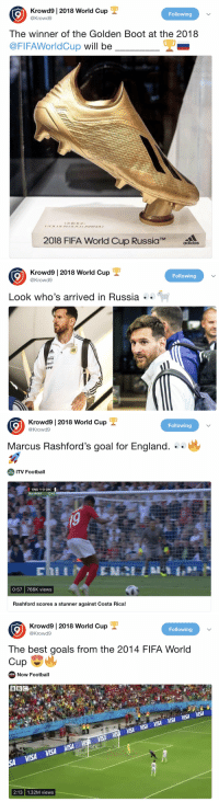 Krowd9 |2018 World Cup  9  Following  @Krowd9  The winner of the Golden Boot at the 2018  @FIFAWorldCup will be  2018 FIFA World Cup RussiaTMaacs  adidas   Krowd9 | 2018 World Cup  9  Following  @Krowd9  Look who  's  arrived in Russia  .  YPF   Krowd9 | 2018 World Cup  @Krowd9  Following  Marcus Rashford's goal for England. ..  ITV Football  SPORT  ENG 1-0 CRC  NSPORT 12:45  0:57 766K views  Rashford scores a stunner against Costa Rica!   9  Krowd9 |2018 World Cup  @Krowd9  Following  The best goals from the 2014 FIFA World  Cup  New  Now Football  BBC  VISA  VISA  VISA  VISA  VISA  2:13 1.32M views The only account you need to be following this FIFA #WorldCup is @Krowd9 🌍🏆   Scores ✅ Videos ✅ Fixtures ✅ News ✅ Stats ✅ Tables ✅ TV Listings ✅  By far the best twitter account this World Cup!! 🔥🔥  Follow them now ➡️ @Krowd9 https://t.co/P5CSTsx9A3