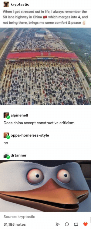: kryptastic  When I get stressed out in life, I always remember the  50 lane highway in China which merges into 4, and  not being there, brings me some comfort & peace  alpinehell  Does china accept constructive criticism  oppa-homeless-style  no  drtanner  Source: kryptastic  61,185 notes