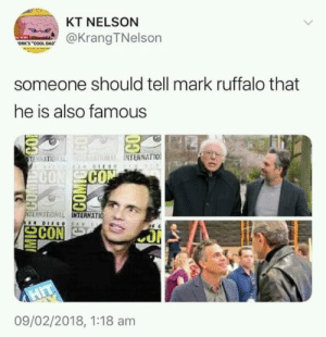 He is too humble: KT NELSON  @Krang TNelson  ORK'S COOL DAD  someone should tell mark ruffalo that  he is also famous  NTERNATIO  CO  SE?NITON LL  INT  TERNATIO  으CON  09/02/2018, 1:18 am He is too humble