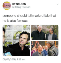 "Dad, Mark Ruffalo, and Cool: KT NELSON  @KrangTNelson  ORK'S ""COOL DAD  someone should tell mark ruffalo that  he is also famous  THRİİ INTERNATIO!  CO  ERMATIONAL  TERNATIO 뇨  09/02/2018, 1:18 am Mark Ruffalo is always in awe"