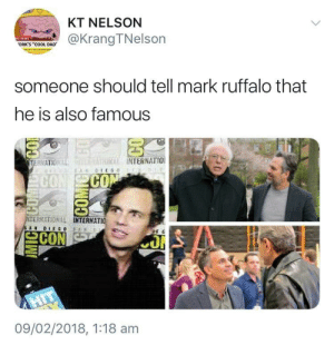 "Dad, Memes, and Target: KT NELSON  @KrangTNelson  ORK'S ""COOL DAD  someone should tell mark ruffalo that  he is also famous  THRİİ INTERNATIO!  CO  ERMATIONAL  TERNATIO 뇨  09/02/2018, 1:18 am positive-memes: Mark Ruffalo is always in awe"