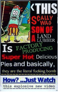 SpongeBob, New Videos, and Pie: KTHIS  SON OF  LAND  LUBBER  IS  PRODUCING  Delicious  Pies and basically,  they are the literal fucking bomb  How? ...Just Watch  this explosive new video