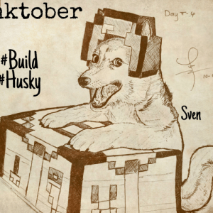 Husky, Senpai, and Table: ktober  Day-  #Build  Husky  10-  Sven A Rare photo of Sven with his Crafting table wearing an Iron Helmet❤️ Notice me senpai kun~