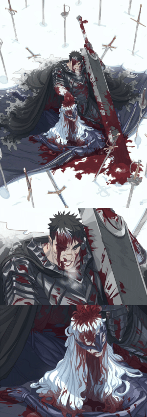 kumanaru:  and done!! after a long time of having the sketch forgotten somewhere on a folder I've decided to finish this very david and goliath inspired berserk illustration!  also this was the first time to livestream the whole process of a big illustration and I plan on doing it again in the future!! it was super fun <3: KUMA  NAKU kumanaru:  and done!! after a long time of having the sketch forgotten somewhere on a folder I've decided to finish this very david and goliath inspired berserk illustration!  also this was the first time to livestream the whole process of a big illustration and I plan on doing it again in the future!! it was super fun <3