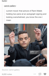 Mood, Mean, and Current Mood: kurgy:  carrot-gallery:  current mood: that picture of Rami Malek  holding two pens at an autograph signing and  looking overwhelmed. you know the one i  mean  gettyimages  REVBauer-Grilffin  Source: carrot-gallery  8,222 notes