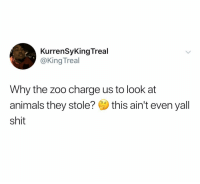 Animals, Shit, and Free: KurrenSyKingTreal  @KingTreal  Why the zoo charge us to look at  animals they stole? this ain't even yal  shit Free them. Let them roam the suburbs. All out Armageddon