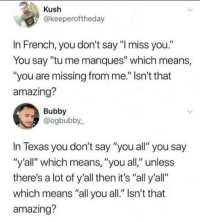 """Memes, Texas, and Amazing: Kush  @keeperoftheday  In French, you don't say """"I miss you.""""  You say """"tu me manques"""" which means,  """"you are missing from me."""" Isn't that  amazing?  Bubby  @ogbubby  In Texas you don't say """"you all"""" you say  """"y'all"""" which means, """"you all,"""" unless  there's a lot of y'all then it's """"all y'all""""  which means """"all you all."""" Isn't that  amazing? <p>French Lessons via /r/memes <a href=""""https://ift.tt/2HjeeFH"""">https://ift.tt/2HjeeFH</a></p>"""