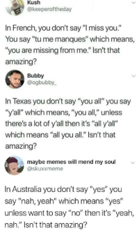 "Dank, Memes, and Target: Kush  @keeperoftheday  In French, you don't say ""l miss you.""  You say ""tu me manques"" which means,  ""you are missing from me."" Isn't that  amazing?  Bubby  @ogbubby  In Texas you don't say ""you all"" you say  ""y'all"" which means, ""you all,"" unless  there's a lot of y'all then it's ""all y'all""  which means ""all you all."" Isn't that  amazing?  maybe memes will mend my soul  skuxxmeme  In Australia you don't say ""yes"" you  say ""nah, yeah"" which means ""yes  unless want to say ""no"" then it's ""yeah,  nah."" Isn't that amazing? danktoday:  'AMAZING, by itsyaboii101 MORE MEMES"