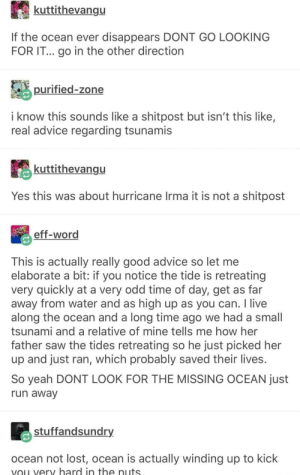 Don't go looking for it!: kuttithevangu  If the ocean ever disappears DONT GO LOOKING  FOR IT... go in the other direction  purified-zone  i know this sounds like a shitpost but isn't this like,  real advice regarding tsunamis  kuttithevangu  Yes this was about hurricane Irma it is not a shitpost  eff-word  This is actually really good advice so let me  elaborate a bit: if you notice the tide is retreating  very quickly at a very odd time of day, get as far  away from water and as high up as you can. I live  along the ocean and a long time ago we had a small  tsunami and a relative of mine tells me how her  father saw the tides retreating so he just picked her  up and just ran, which probably saved their lives  So yeah DONT LOOK FOR THE MISSING OCEAN just  un awav  stuffandsundry  ocean not lost, ocean is actually winding up to kick  vou very hard in the nuts Don't go looking for it!