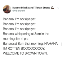 Instagram, Memes, and Banana: Kwame Mbalia and Tristan Strong  @KSekouM  TICC  Banana: I'm not ripe yet  Banana: l'm not ripe yet  Banana: I'm not ripe yet  Banana, whispering at 3am in the  morning: im ripe  Banana at 8am that morning: HAHAHA  I'M ROTTEN BOOOOOOOOY  WELCOME TO BROWN TOWN If you're not following @MEMEZAR you might aswell delete instagram!!