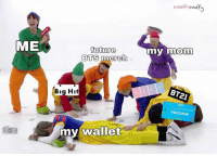 Future, Bts, and Mom: kWnff Waff  ME  future  BTS merch  my mom  BT21  Big Hit  2018  PACKAGE  my wallet #bts