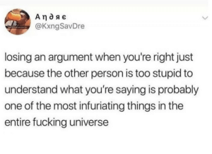 Literally the worst by dickfromaccounting MORE MEMES: @KxngSavDre  losing an argument when you're right just  because the other person is too stupid to  understand what you're saying is probably  one of the most infuriating things in the  entire fucking universe Literally the worst by dickfromaccounting MORE MEMES