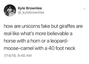 Cameleer: Kyle Brownlee  _kylebrownlee  how are unicorns fake but giraffes are  real like what's more believable a  horse with a horn or a leopard-  moose-camel with a 40 foot neck  7/14/18, 9:40 AM