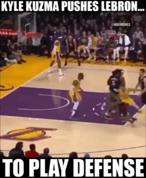 LeBron out here getting shoved around to play defense 👀 https://t.co/QlNNkJ8PSO: KYLE KUZMA PUSHES LEBRON  @NBAMEMES  TO PLAV DEFENSE LeBron out here getting shoved around to play defense 👀 https://t.co/QlNNkJ8PSO