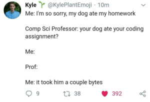 CS homework: Kyle@KylePlantEmoji 10m  Me: I'm so sorry, my dog ate my homework  Comp Sci Professor: your dog ate your coding  assignment?  Me:  Prof  Me: it took him a couple bytes CS homework
