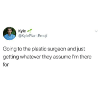 Memes, 🤖, and Plastic: Kyle  @KylePlantEmoji  Going to the plastic surgeon and just  getting whatever they assume I'm there  for Just whatever is most obvious please
