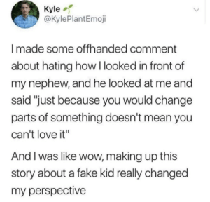 "And I Was Like: Kyle  @KylePlantEmoji  Imade some offhanded comment  about hating how I looked in front of  my nephew, and he looked at me and  said ""just because you would change  parts of something doesn't mean you  can't love it""  And I was like wow, making up this  story about a fake kid really changed  my perspective"