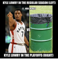Too soon 😂😭😂 After having an abysmal first round to the playoffs last season Kyle Lowry started today right where he left off, scoring just 4 points on 2-11 shooting 😳😨 Double tap and tag some friends below! 👍⬇: KYLE LOWRY IN THE REGULAR SEASON (LEFT]  NBA MEMES  RTO  VS  KYLE LOWRY IN THE PLAYOFFS (RIGHT Too soon 😂😭😂 After having an abysmal first round to the playoffs last season Kyle Lowry started today right where he left off, scoring just 4 points on 2-11 shooting 😳😨 Double tap and tag some friends below! 👍⬇