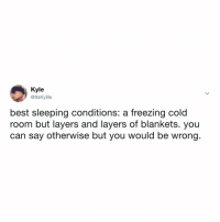 Best, Sleeping, and Relatable: Kyle  @ltsKylle  best sleeping conditions: a freezing cold  room but layers and layers of blankets. you  can say otherwise but you would be wrong. literally me in bed at this very moment