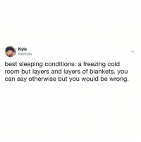 And a fan going.: Kyle  @ltsKyllle  best sleeping conditions: a freezing cold  room but layers and layers of blankets. you  can say otherwise but you would be wrong And a fan going.