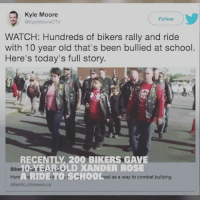Bailey Jay, Friends, and Guns: Kyle Moore  GKyleMooreCTV  Follow  WATCH: Hundreds of bikers rally and ride  with 10 year old that's been bullied at school  Here's today's full story  RECENTLY, 200 BIKERS GAVE  0EAR OLD XANDER ROSE  A RIDE TO SCHO0L  Biker  I as a way to combat bullying  ca This 10-year-old was bullied every day at school - until these bikers stepped in with the coolest school drop-off ever! ❤️ 🏍 WATCH © 10% off Discount when you sign up to our NewsLetter. Link in Bio. 🇺🇸FB page Fb.Com-UncleSamsChildren 🇺🇸YouTube Channel youtube.com-c-UncleSamsMisguidedChildren 🇺🇸 Visit our website for News and Information. 🇺🇸 www.UncleSamsMisguidedChildren.com 🇺🇸 Tag Friends & Join our Brotherhood 🇺🇸 @unclesamsmisguidedchildren unclesamsmisguidedchildren MisguidedLife usmc USMCNation igmilitia 2A secondamendment 2ndamendment molonlabe donaldtrump pewpew tactical gunchannels maga guns deplorable k9 backtheblue nra semperfi usmarines donttreadonme bikerlife marinecorps makeamericagreatagain oohrah military