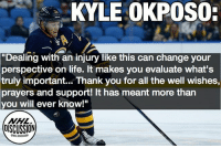 "LINK IN BIO - Kyle Okposo has opened up regarding his serious injury that has kept him in intensive care at the hospital for months. Read his entire letter through the link in our bio NHLDiscussion: KYLE OKPOSO  ""Dealing with an injury like this can change your  perspective on life. it makes you evaluate what's  truly important... Thank you for all the well wishes,  prayers and support! It has meant more than  you will ever know!""  NHL  OISCUSSION LINK IN BIO - Kyle Okposo has opened up regarding his serious injury that has kept him in intensive care at the hospital for months. Read his entire letter through the link in our bio NHLDiscussion"