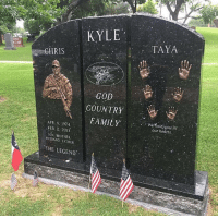Happy Memorial Day weekend! RIP to the legend Chris Kyle and all the others who have fallen to protect our Freedom 🇺🇸 Via: @countryamerica: KYLE  TAYA  23  HRIS  GOD  COUNTRY  Weoldi you in  our hedrts.  APR 8, 1974  FEB. 2, 2013  SON, BROTHER  HUSBAND FATHER  THE LEGEND Happy Memorial Day weekend! RIP to the legend Chris Kyle and all the others who have fallen to protect our Freedom 🇺🇸 Via: @countryamerica