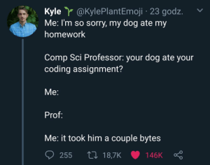 comp: Kyle Y @KylePlant Emoji 23 godz  Me: I'm so sorry, my dog ate my  homework  Comp Sci Professor: your dog ate your  coding assignment?  Мe:  Prof:  Me: it took him a couple bytes  L 18,7K  255  146K