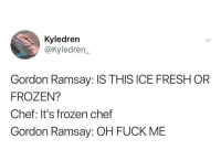 Fresh, Frozen, and Gordon Ramsay: Kyledren  @kyledren  Gordon Ramsay: IS THIS ICE FRESH OR  FROZEN?  Chef: It's frozen chef  Gordon Ramsay: OH FUCK ME