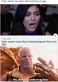 Kylie Jenner has been dethroned by an egg.  TMZ.COM  Kylie Jenner Loses Most Liked Instagram Post to an  Egg  this, does put a smile on my face.