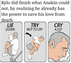 The Tragedy of Darth Vader: Kylo did finish what Anakin could  not, by realising he already has  the power to save his love from  death  LIE  CRY  A LOT  TRY  DOWN  NOT TO CRY The Tragedy of Darth Vader