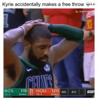 He was trying to miss, so they could get the ball back 💀😂👀 - Follow @_nbamemes._: Kyrie accidentally makes a free throw  @ nbamem  BOS 119 1 HOU 120 4th 4  то о  BONUS  TO:2  BONUS He was trying to miss, so they could get the ball back 💀😂👀 - Follow @_nbamemes._
