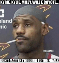 How LeBron feels. Cavs Nation Credit: @dismal_dean: KYRIE, KYLIE, MILEY, WILE E COYOTE...  land  nic  @NBAMEMES  DON'T MATTER I'M GOING TO THE FINALS How LeBron feels. Cavs Nation Credit: @dismal_dean