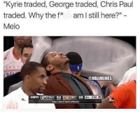 "Chris Paul, Christmas, and Nba: ""Kyrie traded, George traded, Chris Paul  traded. Why the f am I still here?"" -  Melo  @NBAMEMES  NY 35  3:54田  NBA CHRISTMAS SPECIAL 😭😭"