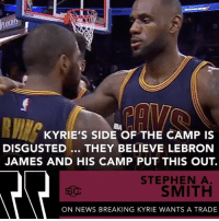 StephenASmith reports on KyrieIrving's camp being upset about the news breaking of him wanting a trade...thoughts? 🏀🤔 @SportsCenter WSHH: KYRIE'S SIDE OF THE CAMP IS  DISGUSTED... THEY BELIEVE LEBRON  JAMES AND HIS CAMP PUT THIS OUT.  STEPHEN A  SMITH  ON NEWS BREAKING KYRIE WANTS A TRADE StephenASmith reports on KyrieIrving's camp being upset about the news breaking of him wanting a trade...thoughts? 🏀🤔 @SportsCenter WSHH