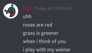 weiner: kys Today at 10:58 AM  uhh  roses are red  grass is greener  when i think of you  i play with mt weiner