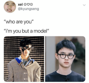 """Memes, Exo, and Who: @kyungseng  """"who are you""""  """"i'm you but a model"""" EXO memes"""