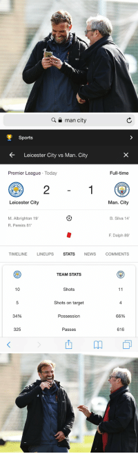 "https://t.co/o7NiVFydEA: L.  125  BET  ETV   Q a man city  Sports  Leicester City vs Man. City  Premier League Today  Full-time  CHES  2  CITY  Leicester City  Man. City  M. Albrighton 19  R. Pereira 81  B. Silva 14  F. Delph 89""  TIMELINE  LINEUPS  STATS  NEWS  COMMENTS  TEAM STATS  10  Shots  Shots on target  4  34%  Possession  66%  325  Passes  616 https://t.co/o7NiVFydEA"